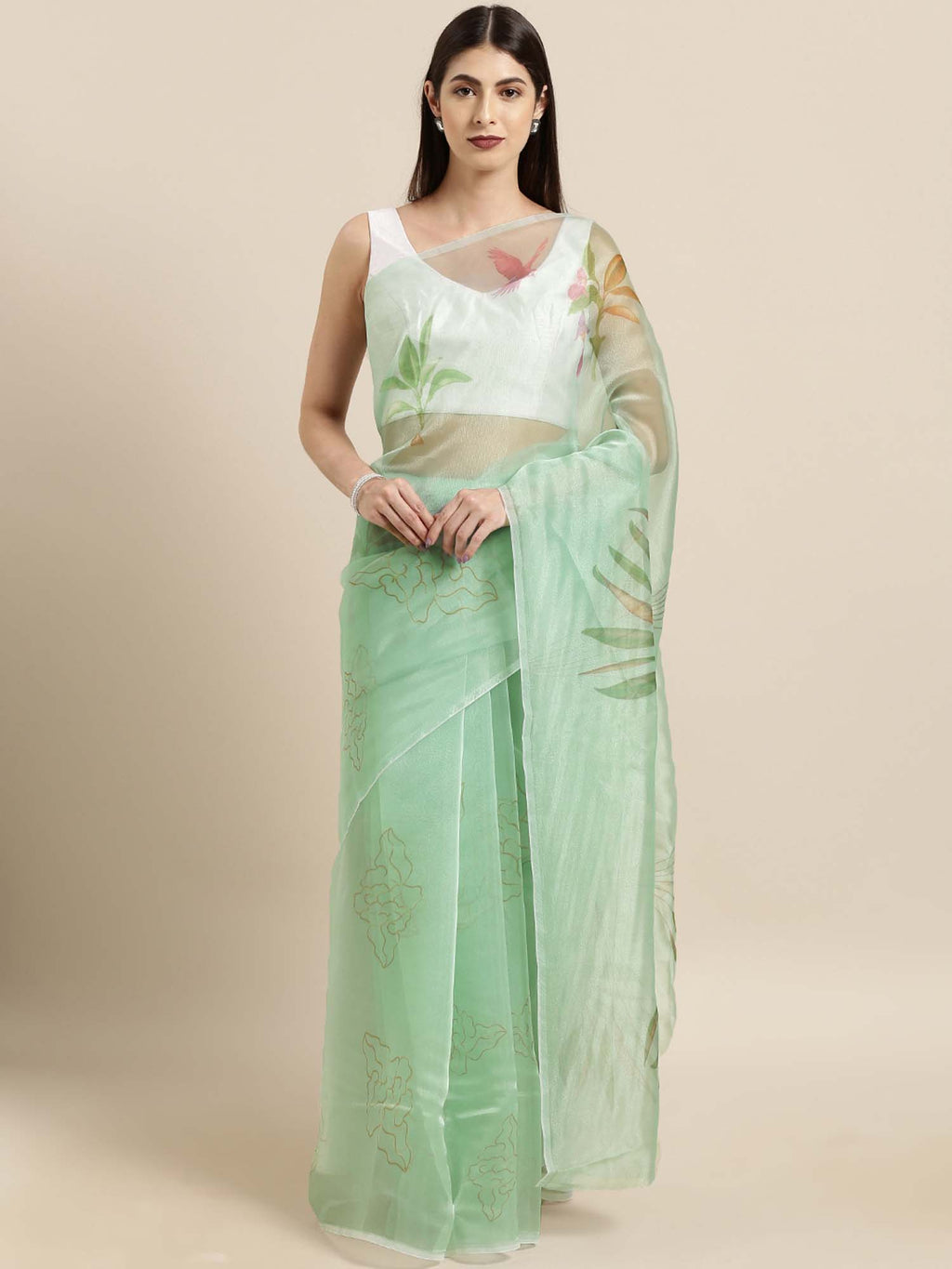Green Floral Digital Print Design Oraganza Saree With Poly Dupion Blouse - Riviera Closet