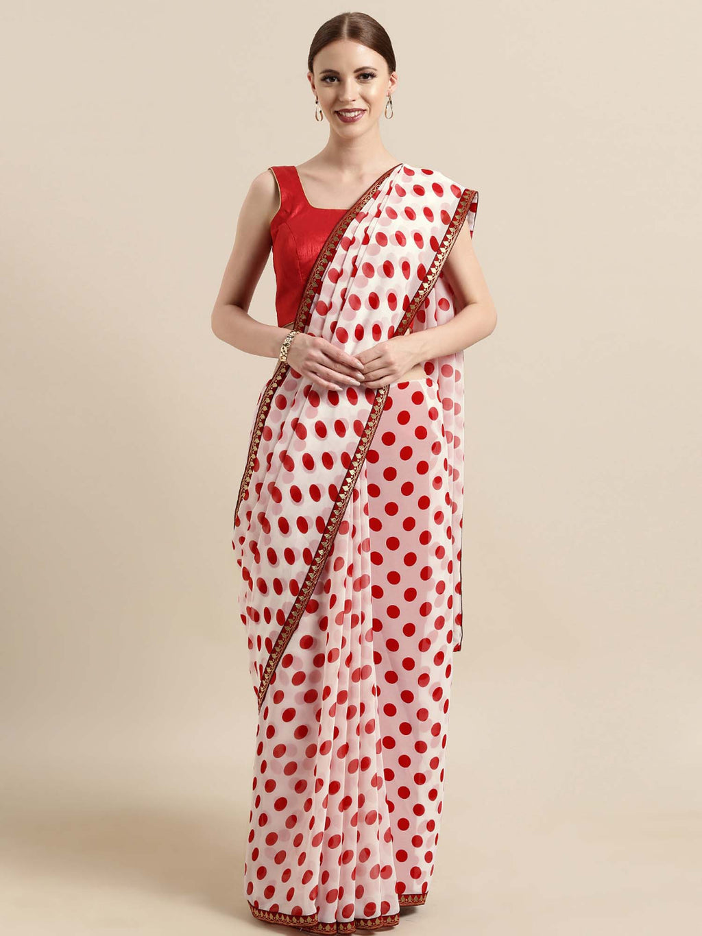 White and Red Poly Georgette Polka Dots Print with Printed Lace and Solid Dupion Blouse - Riviera Closet