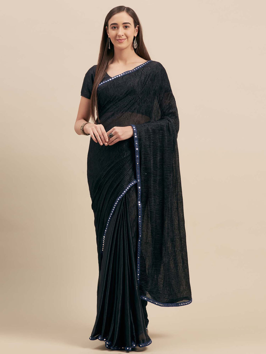Black Crush Satin Half-Half Saree With Mirror Lace - Riviera Closet