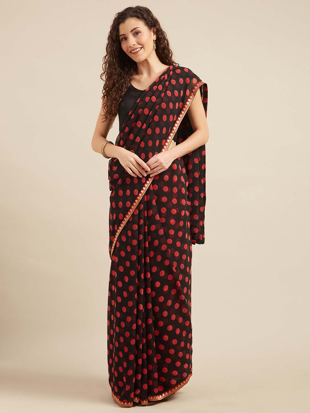 Black and Red Poly georgette Polka dots print with Printed Lace and Solid Dupion Blouse - Riviera Closet