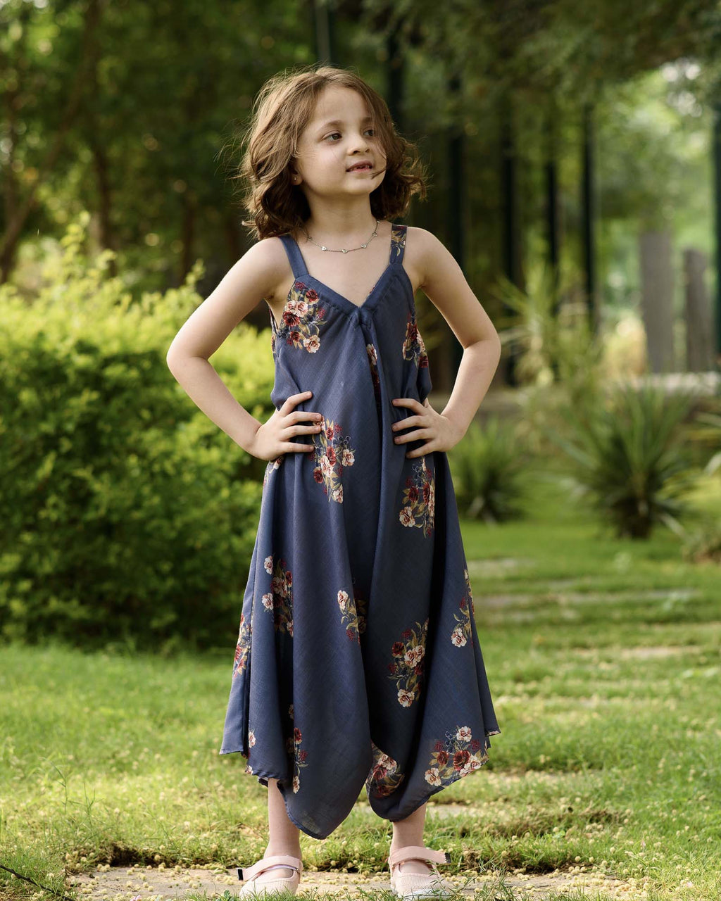 Kids Persian Blue Palazzo Jumpsuit - Riviera Closet