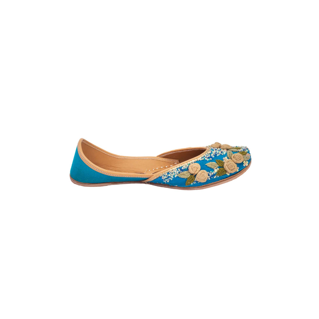 Floral Thread Work Blue Colour Hand Embroidered Juttis - Riviera Closet