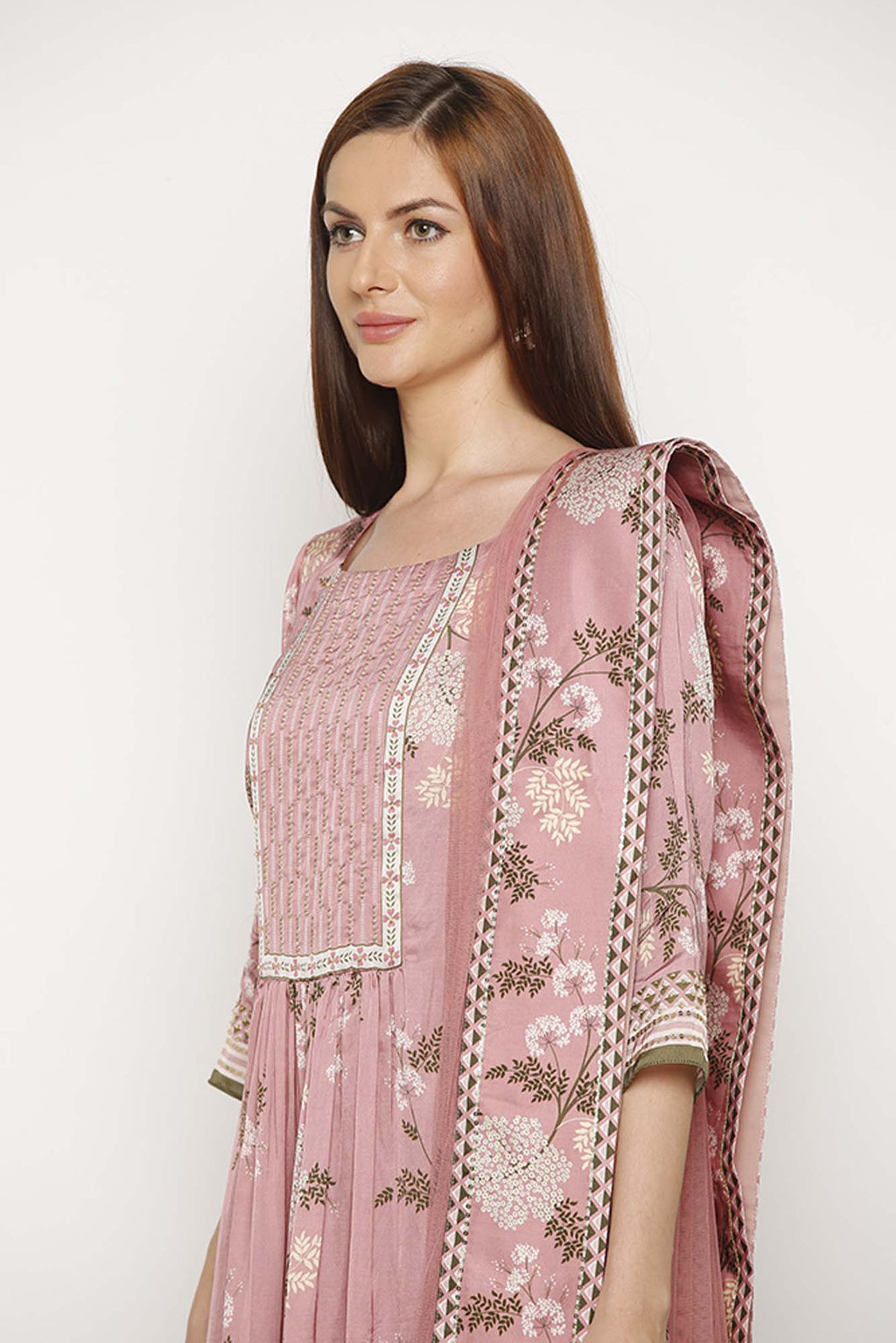 Printed Pink Dress with Kurta, Pant and Dupatta - Riviera Closet
