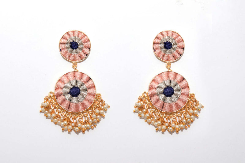 Peach And Navy Blue Matte Finished Double Circular Earrings - Riviera Closet