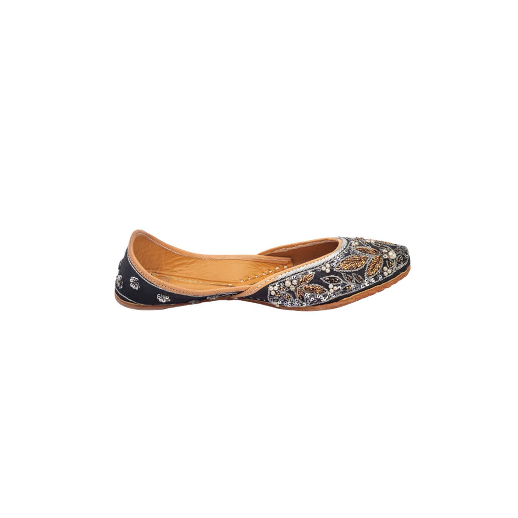 Black Sparkle Embellished Juttis - Riviera Closet