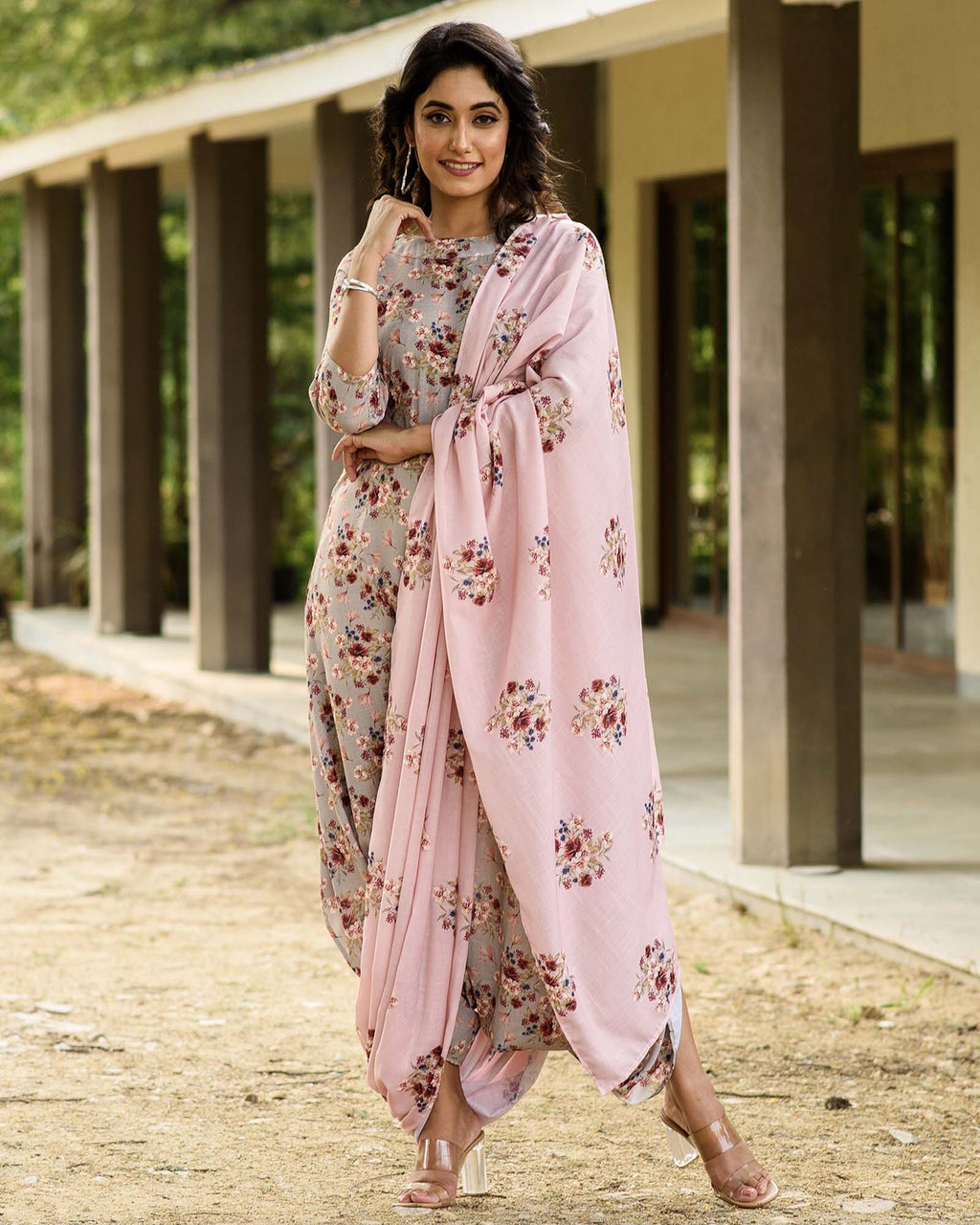 Laurel Green Dhoti Jumpsuit With A Detachable Carnation Pink Pallu - Riviera Closet