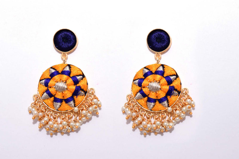 Mustard Yellow and Navy Blue Matte Finished Circular Earrings - Riviera Closet