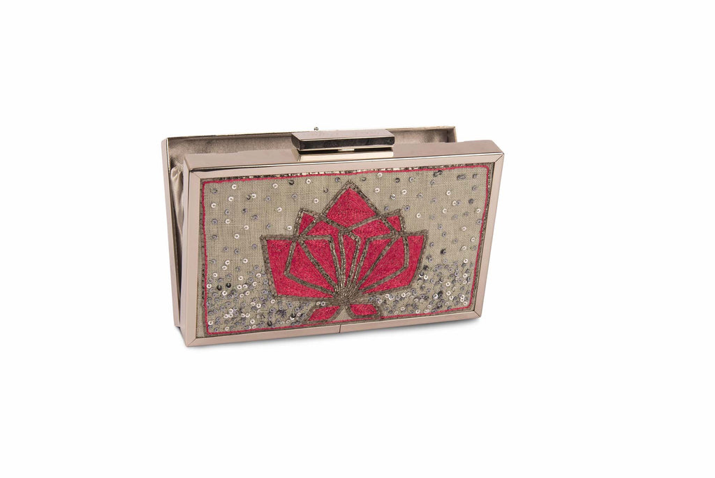 Geometric Lotus Beige Colour Hand Embroidered Clutch - Riviera Closet