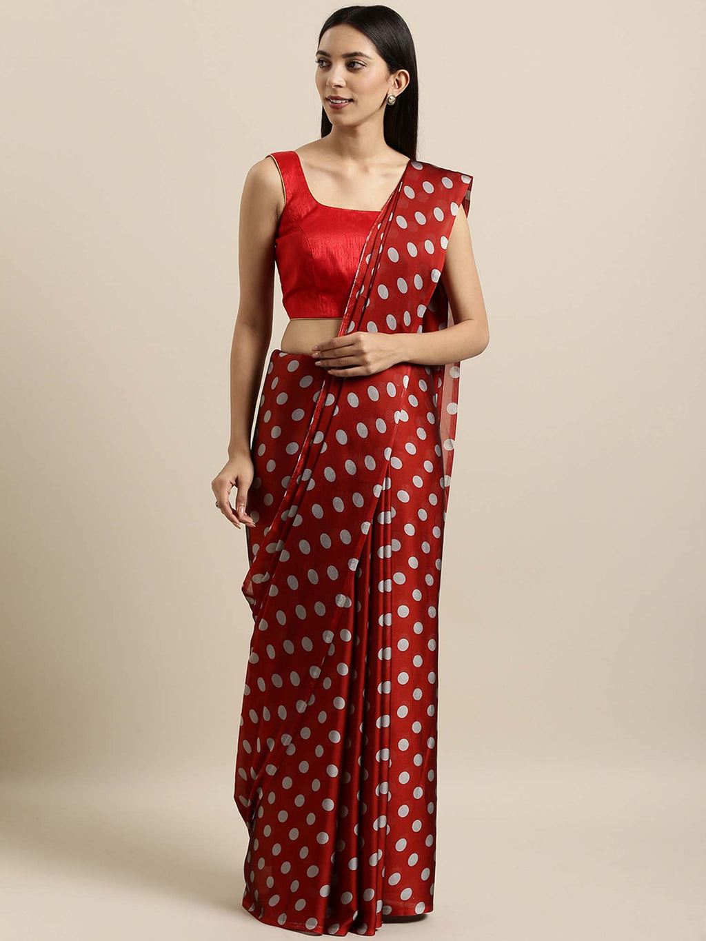 Red & Grey Poly Crepe Printed Saree - Riviera Closet