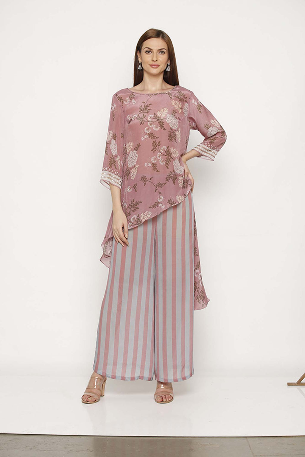 Printed Pink High-Low Kurta with Pants - Riviera Closet