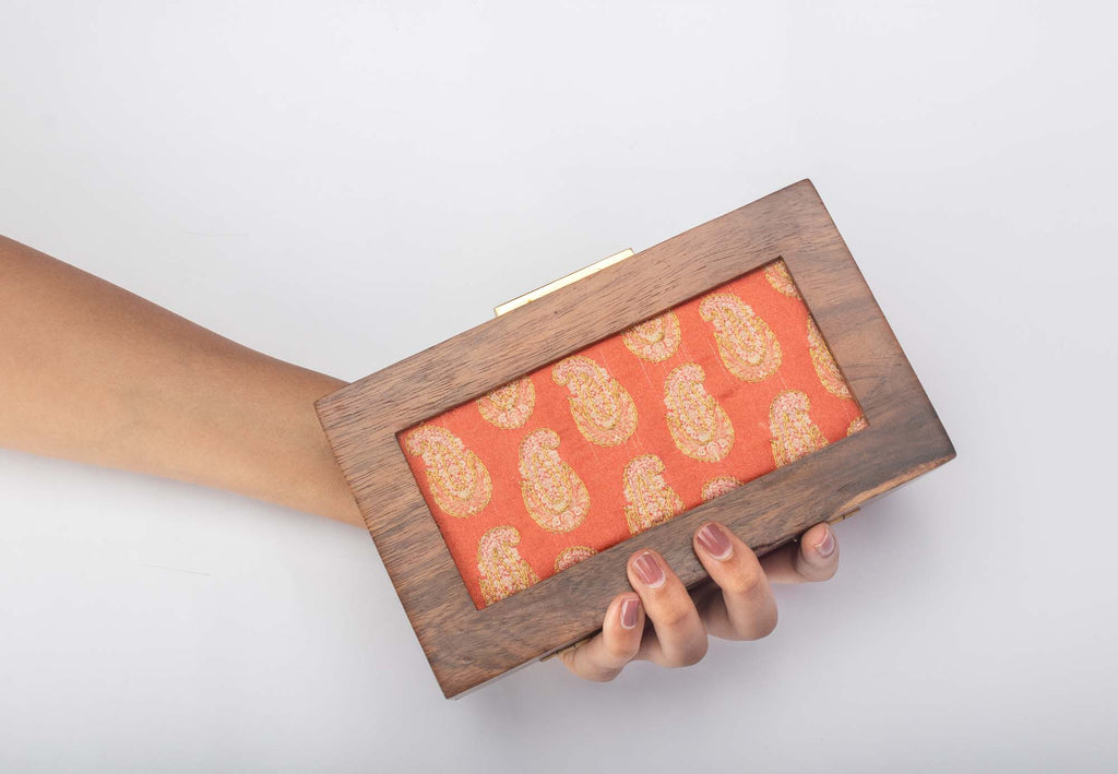 Sunset Orange Customized Print Clutch - Riviera Closet
