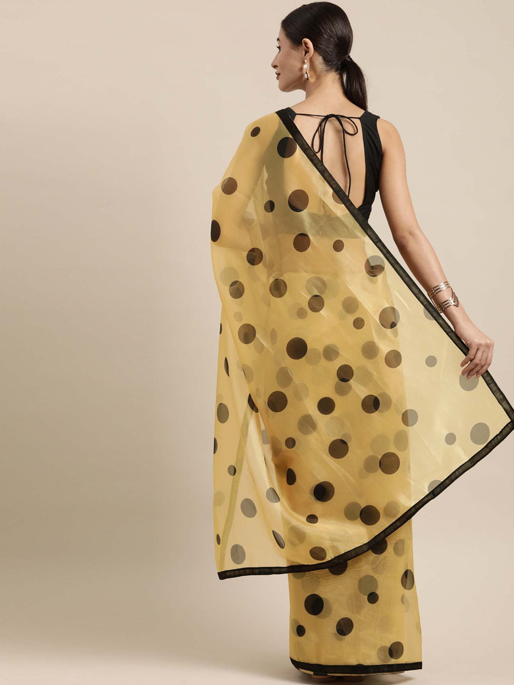 Yellow and Black Color Organza Saree With Geometric Prints - Riviera Closet