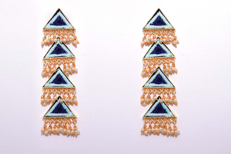 Vanilla and Navy Blue Matte Finished Long Four Layered Triangle Earrings - Riviera Closet