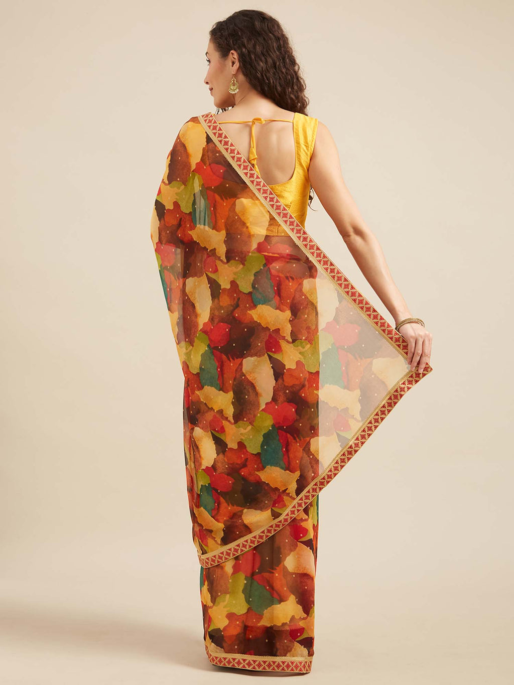 Multicolor Floral Poly Georgette Saree With Printed Lace - Riviera Closet