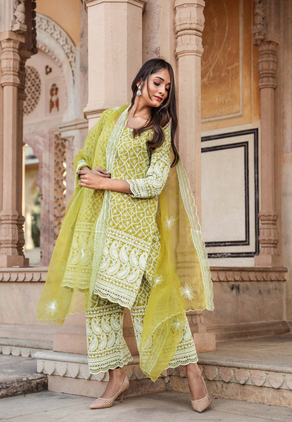 Hina Green Chikan Embroidered Salwar Suit Set - Riviera Closet
