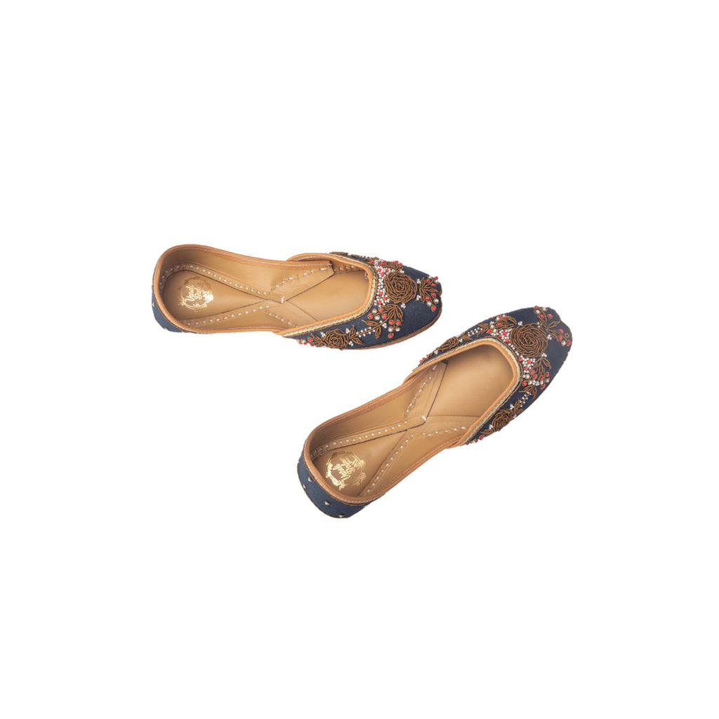 Zardozi Royal Blue Hand Embroidered Juttis - Riviera Closet