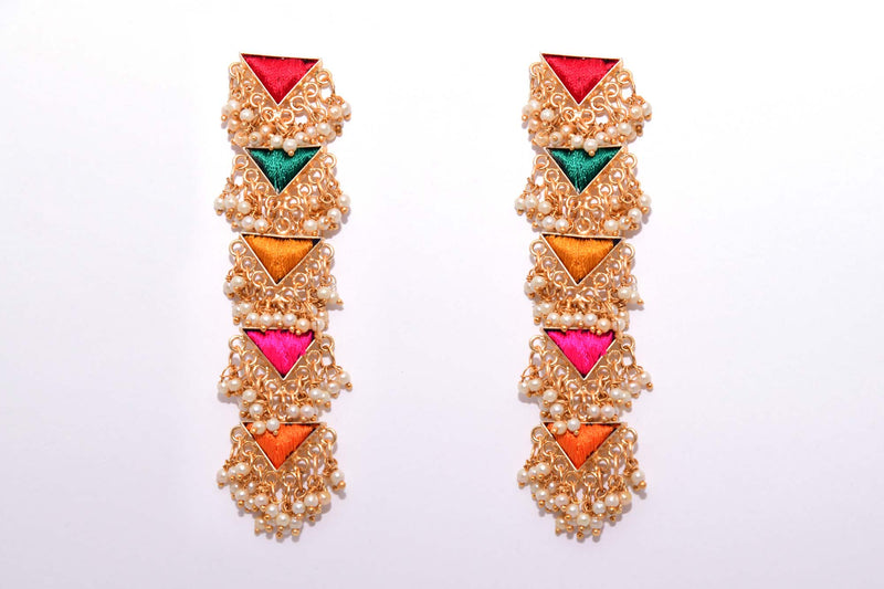 Multi Coloured Matte Finished Five Layered Long Triangle Earrings - Riviera Closet