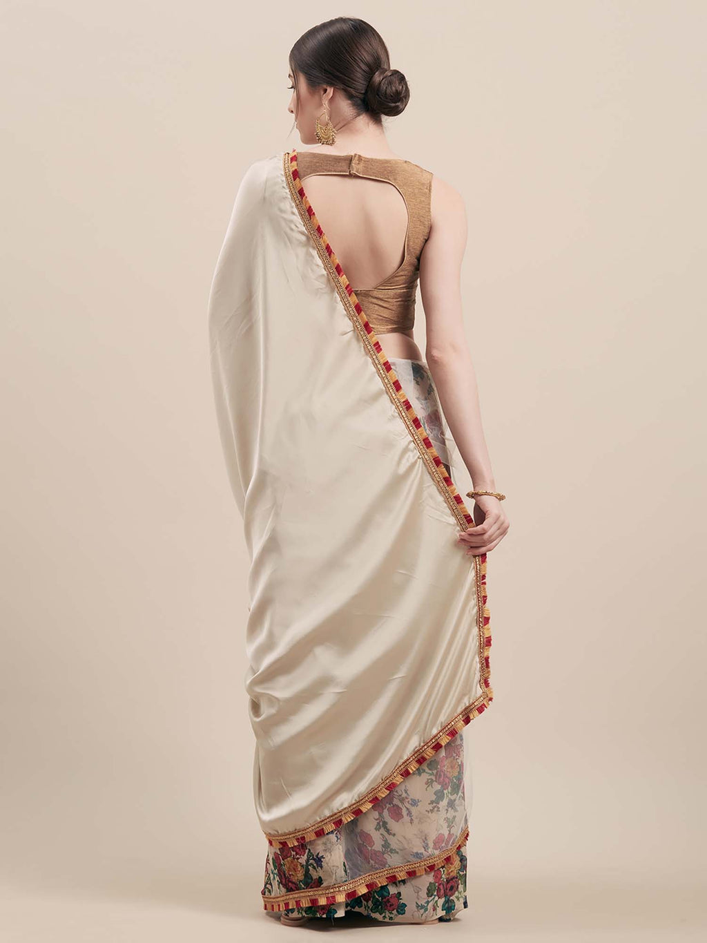 Solid Grey Satin & White Georgette Printed Half-Half Saree - Riviera Closet