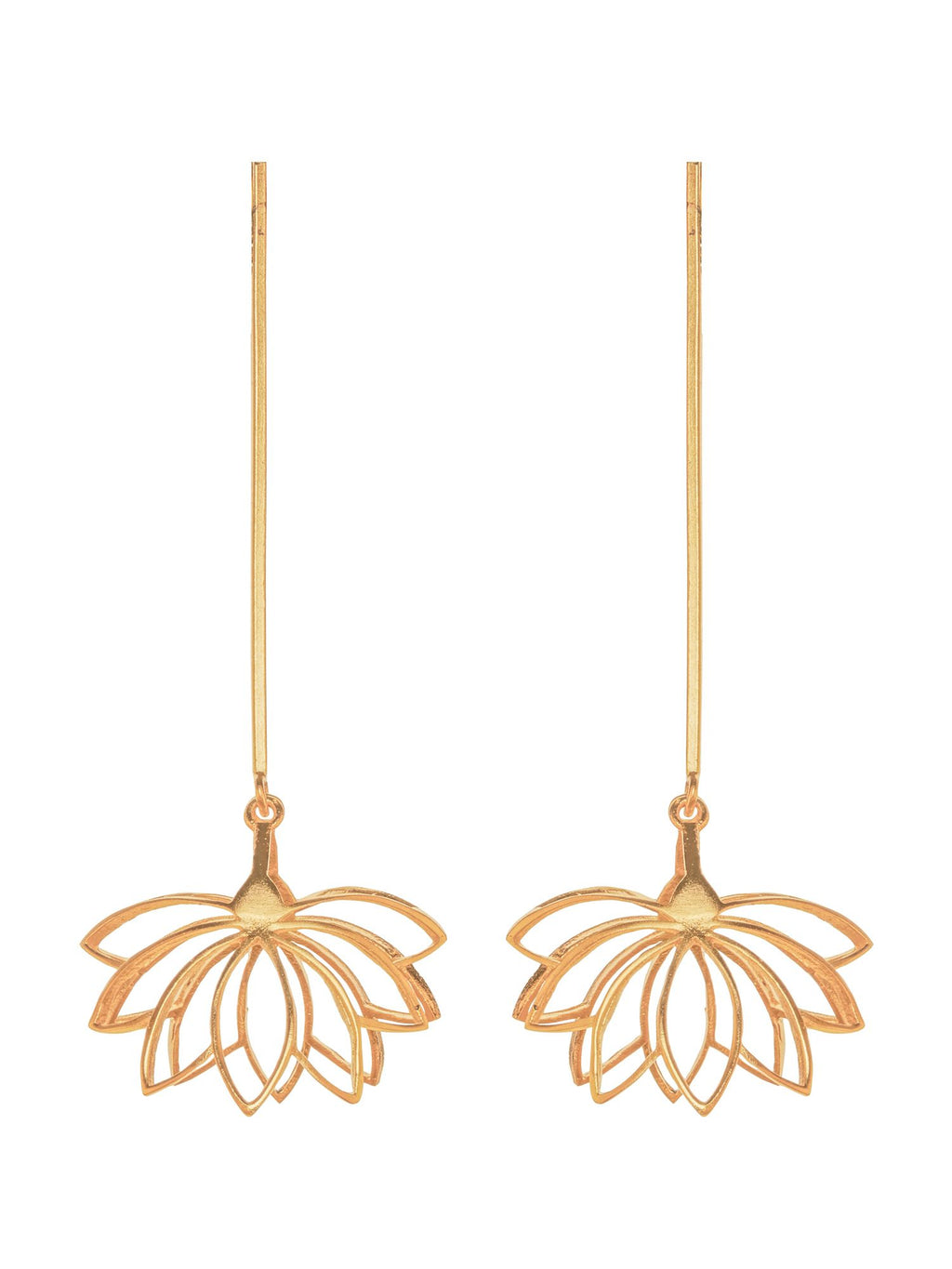 Inverted Lotus Gold Plated Earrings - Riviera Closet