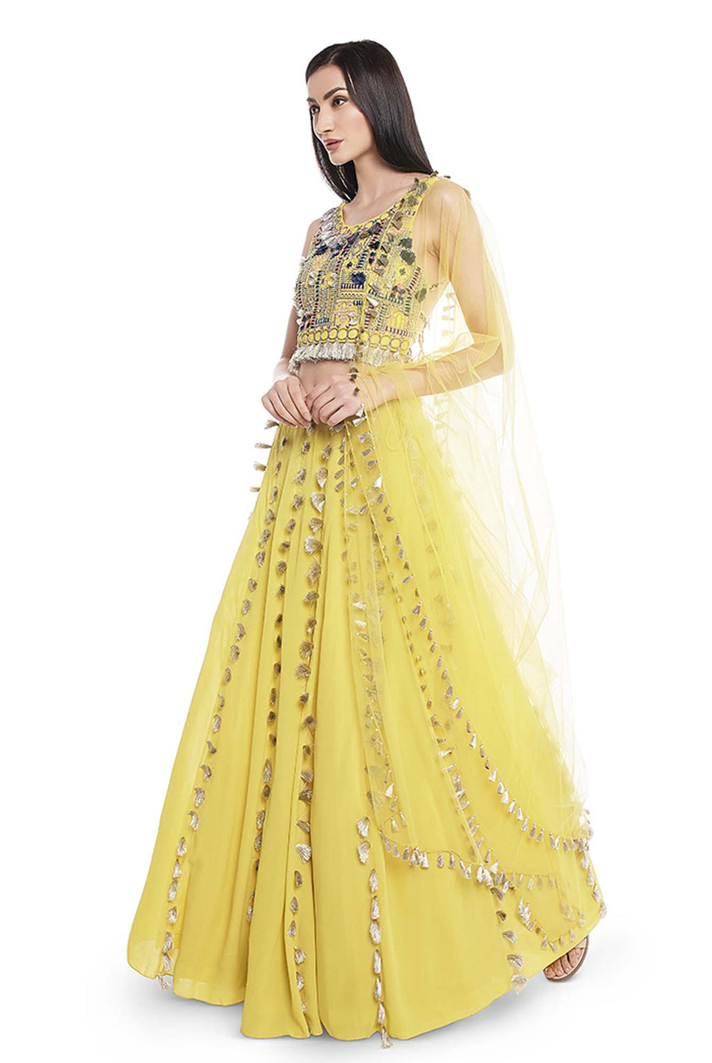 Lime Green Colour Georgette Embroidered Back Tie-Up Choli with Lehenga and Net Dupatta - Riviera Closet