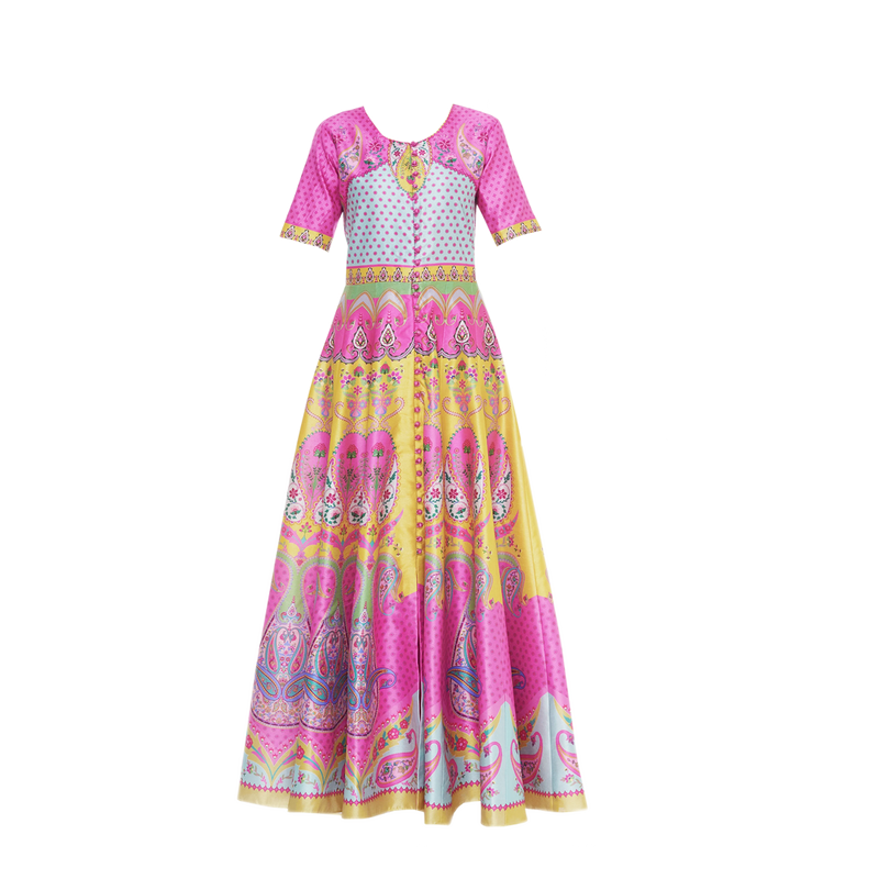 Pink Yellow Paisley Front Open Anarkali Gown - Riviera Closet