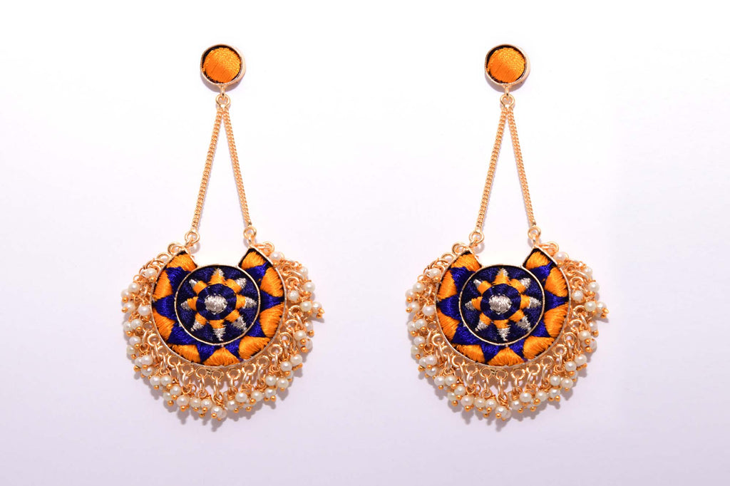 Mustard Yellow And Royal Blue Matte Finished Moon With Chain Earrings - Riviera Closet