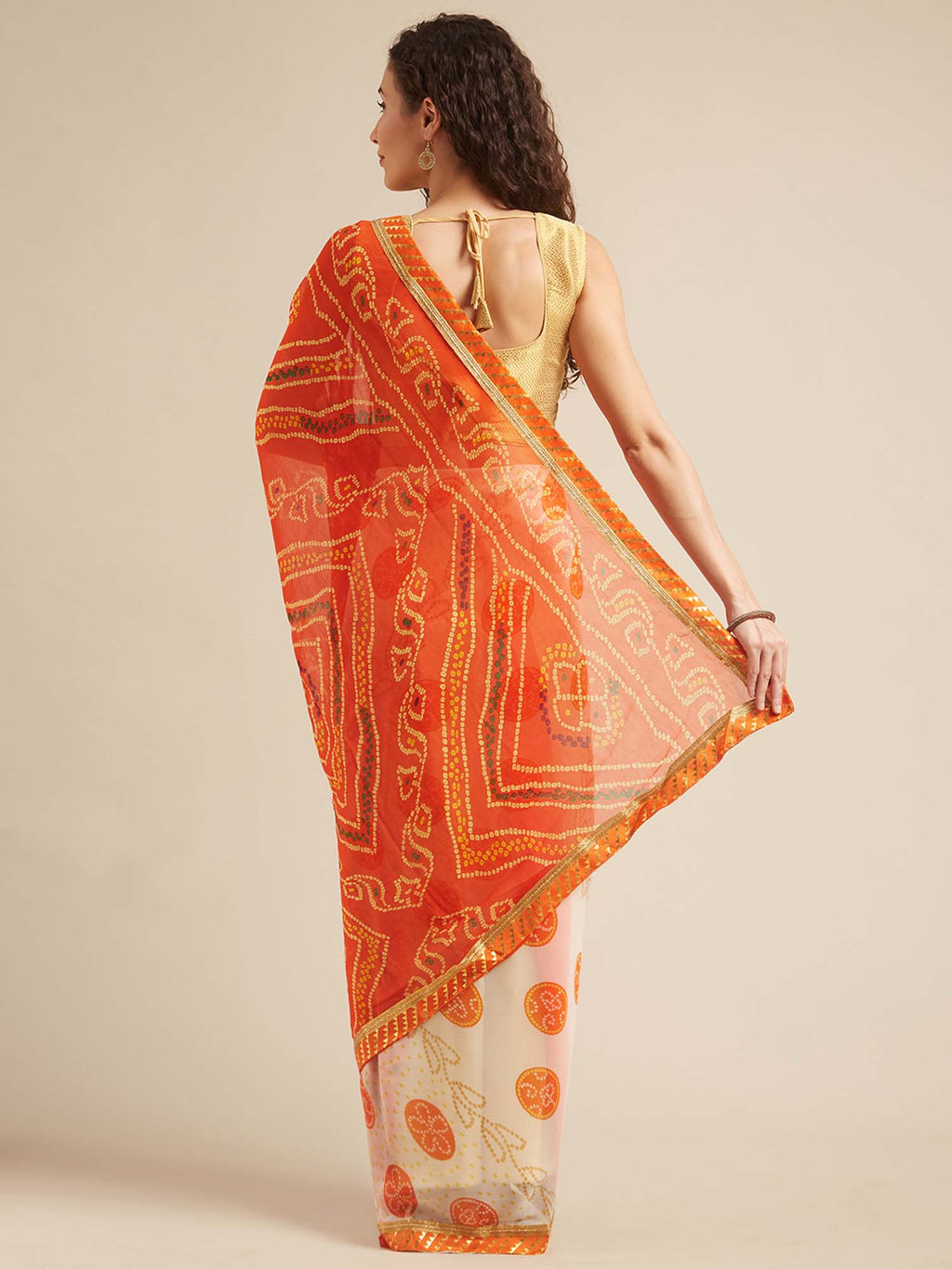 Off White and Orange Poly Georgette Bandhani Design Saree with Printed Lace - Riviera Closet