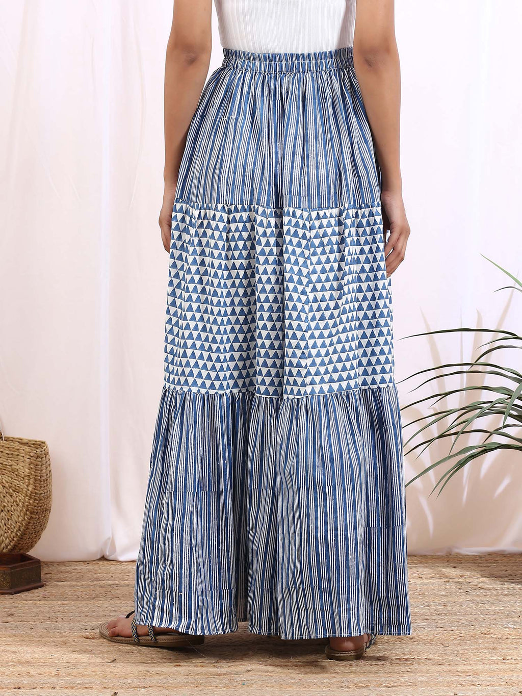 White and Blue Indigo Reves Skirt - Riviera Closet