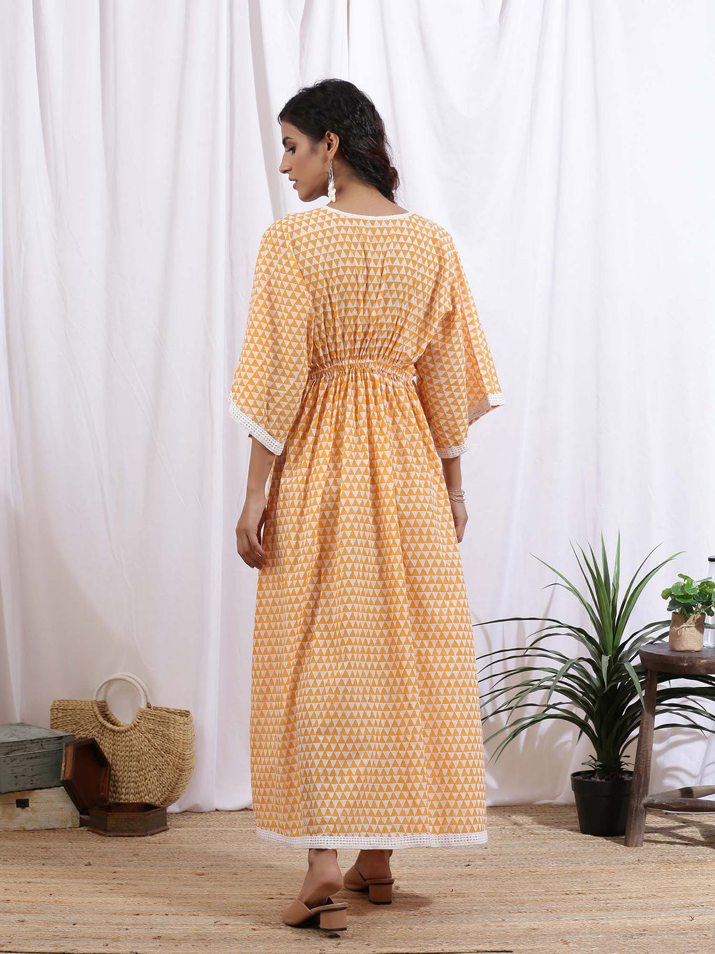 White and Orange Mangue Kaftan Dress - Riviera Closet