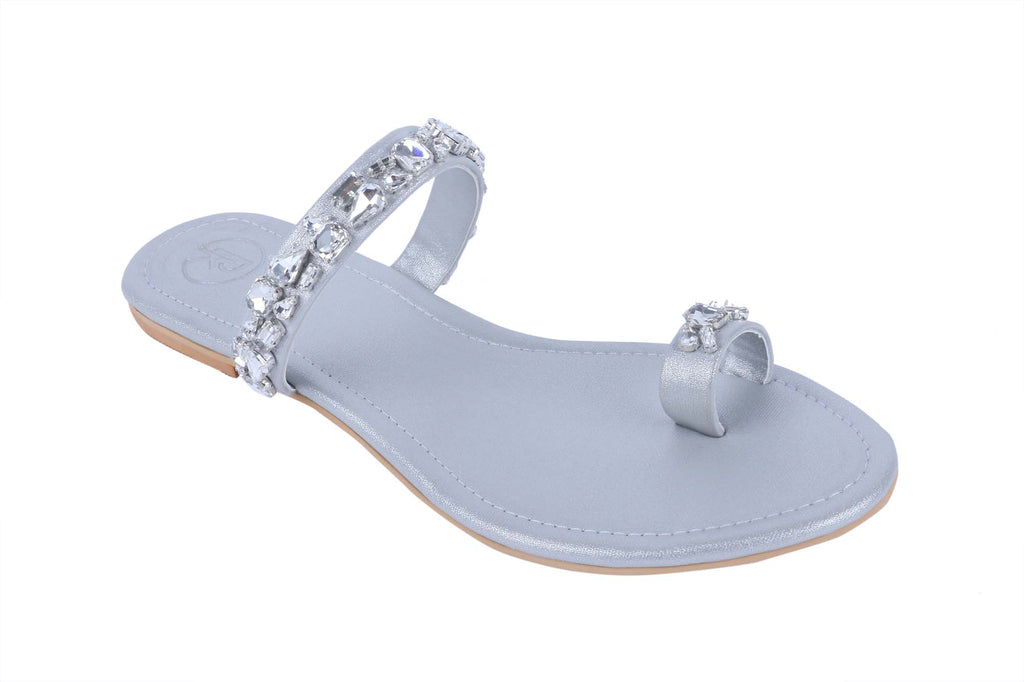 Silver Embellished Thumb Flats by Preet Kaur