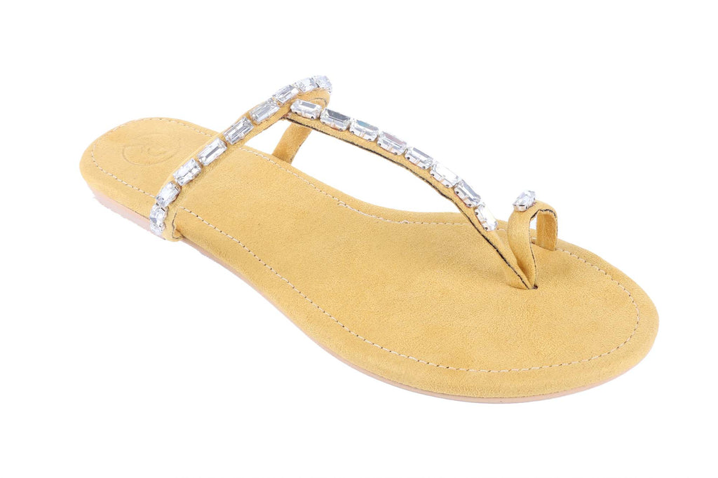 Yellow Stone Thumb Flats by Preet Kaur