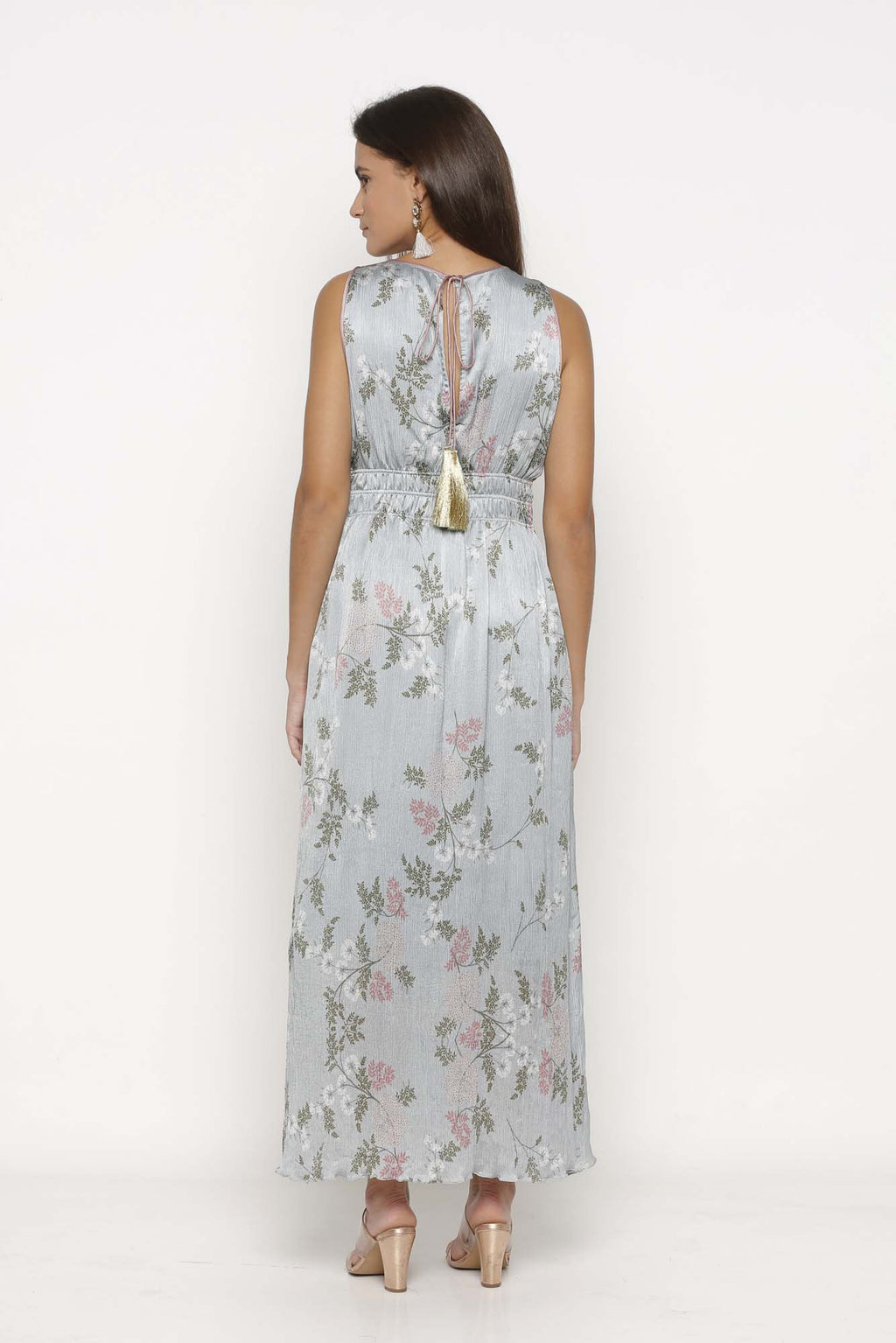 Ice Blue Printed Maxi Dress - Riviera Closet
