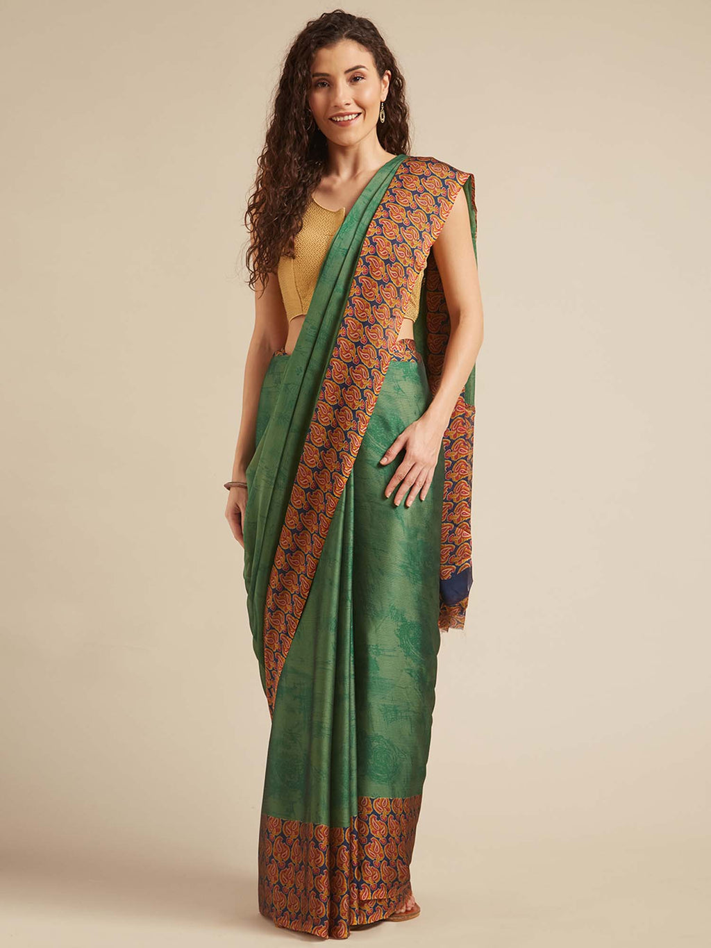Navy Blue and Green Poly Crepe Traditional Motif Saree - Riviera Closet
