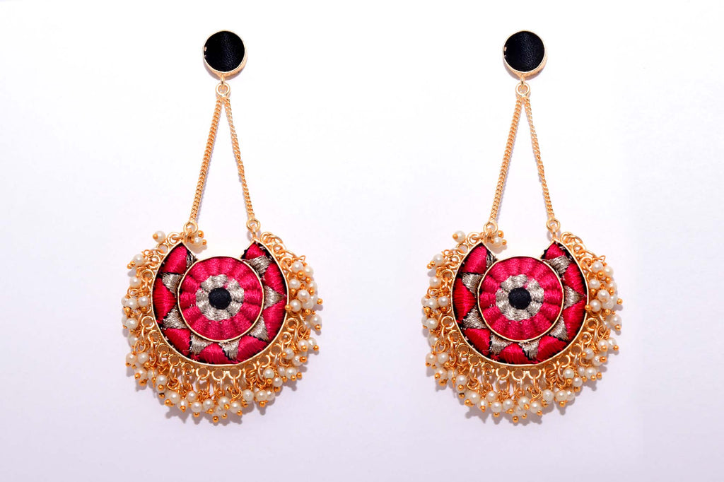 Deep Pink and Black Matte Finished Moon With Chain Earrings - Riviera Closet