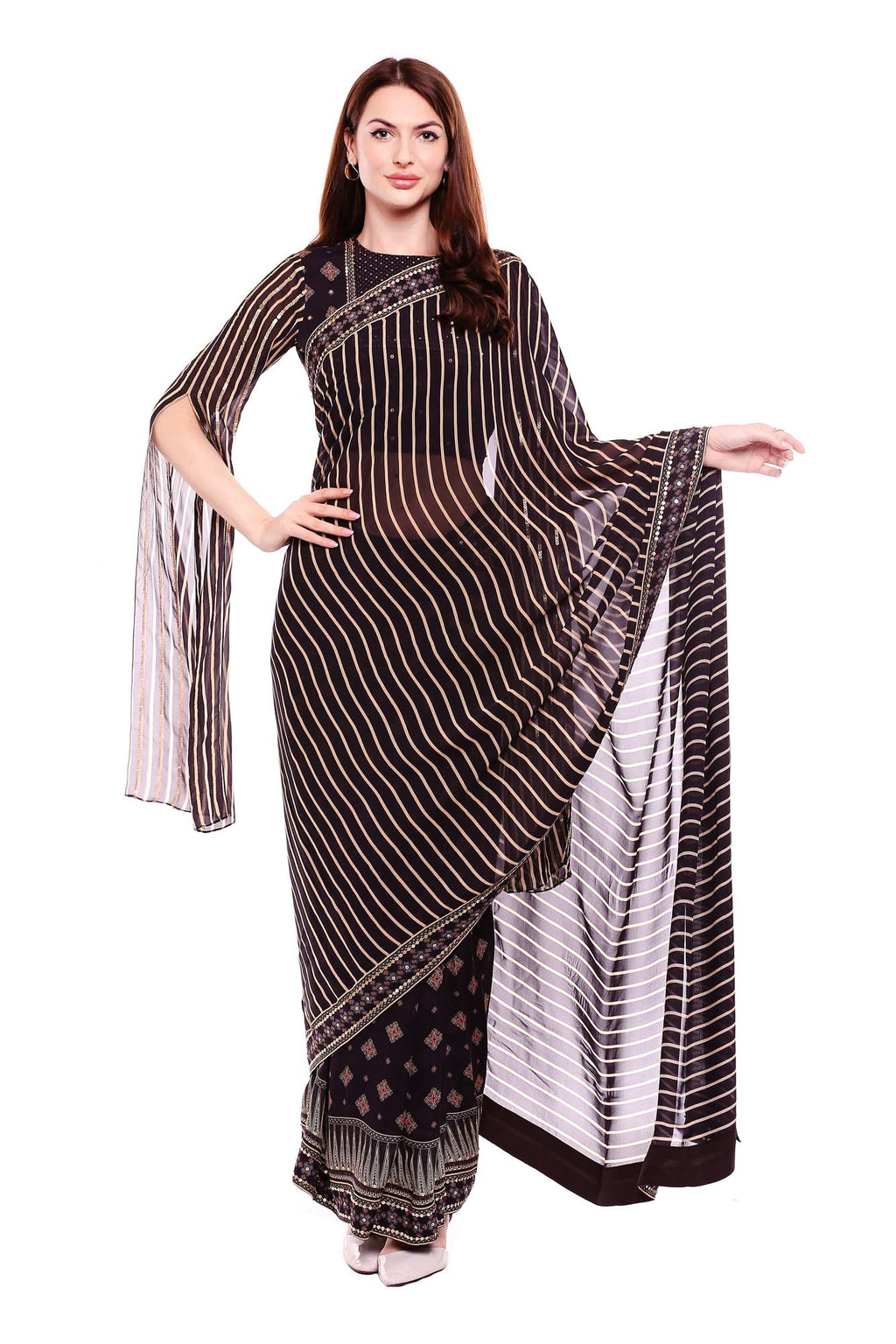 Printed Black and Beige Saree with Blouse and Slit Sleeves - Riviera Closet