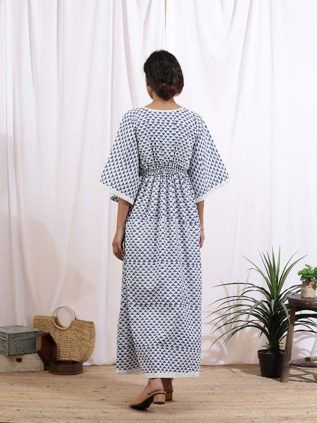 White and Blue Ciel Kaftan Dress - Riviera Closet