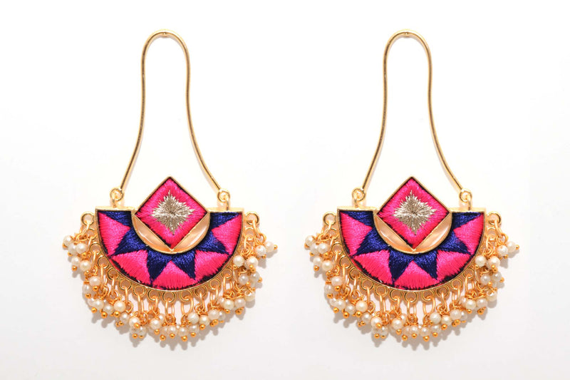 Mustard Yellow and Navy Blue Matte Finished Fusion Of A Geometric Square And An Indian Shaped Chandbali Earrings - Riviera Closet