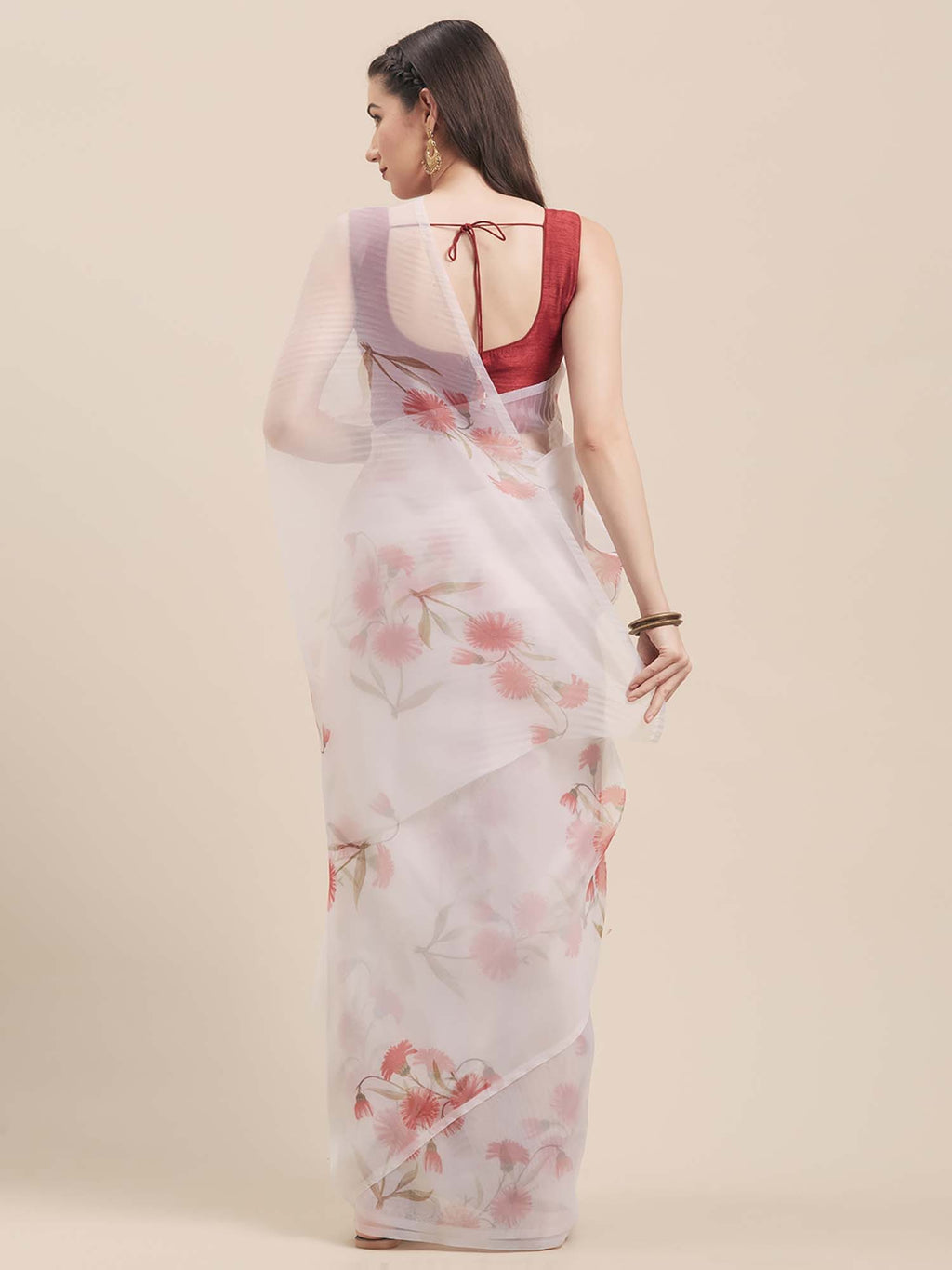 Off White & Red Floral Digital Print Design Oraganza Saree With Poly Dupion Blouse - Riviera Closet