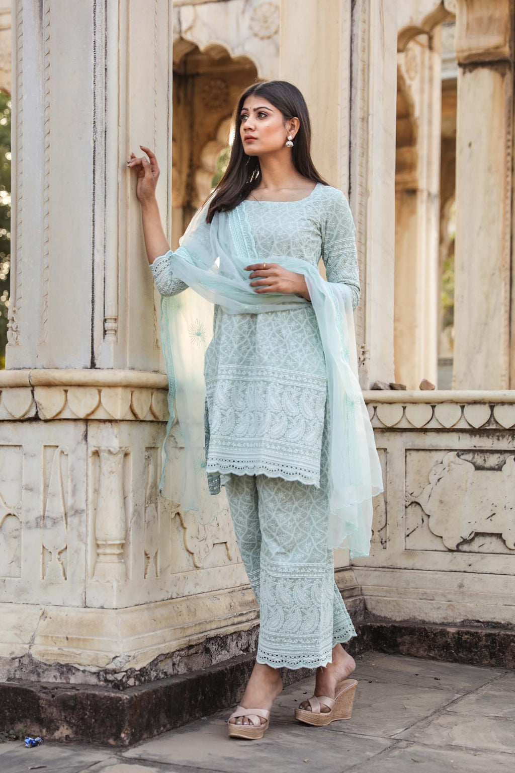 Hina Sky Blue Chikan Embroidered Salwar Suit Set - Riviera Closet