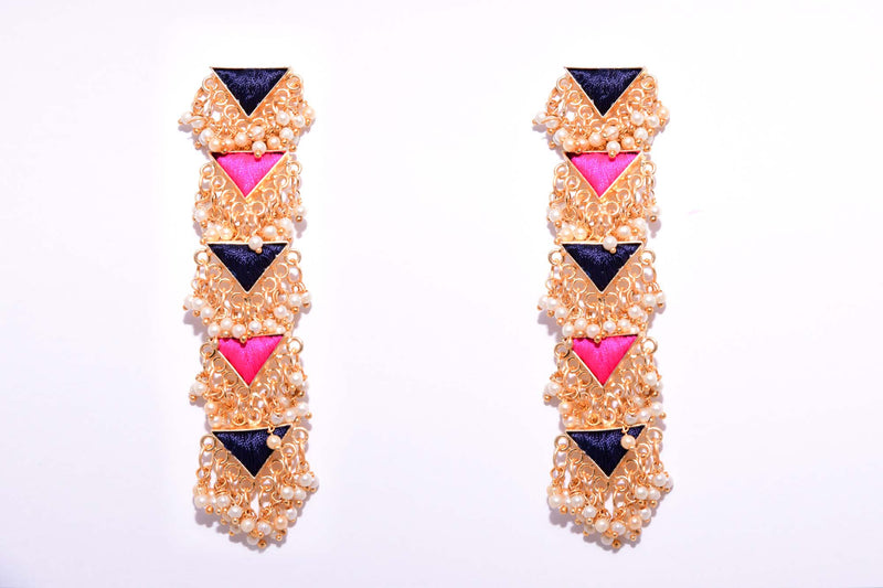 Navy Blue And Pink With Pearls Matte Finished Five Layered Long Triangle Earrings - Riviera Closet
