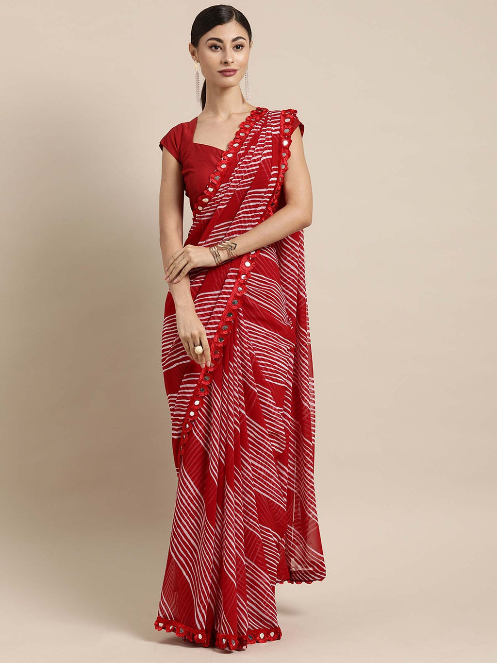 Red and White Leheriya Poly Georgette Saree With Mirror Work Lace - Riviera Closet