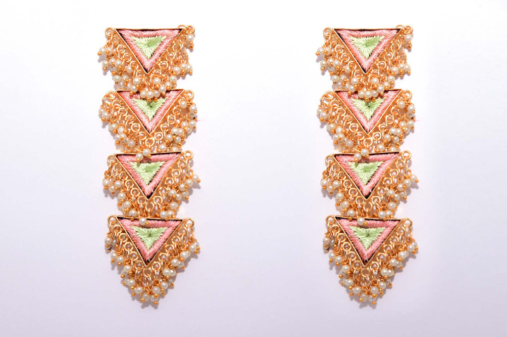 Peach And Mint Green Matte Finished Inverted Long Four Layered Triangle Earrings - Riviera Closet