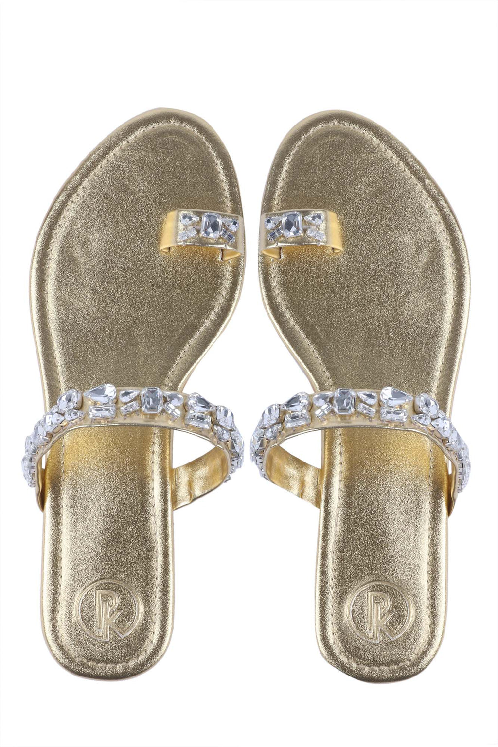Gold Embellished Thumb Flats by Preet Kaur