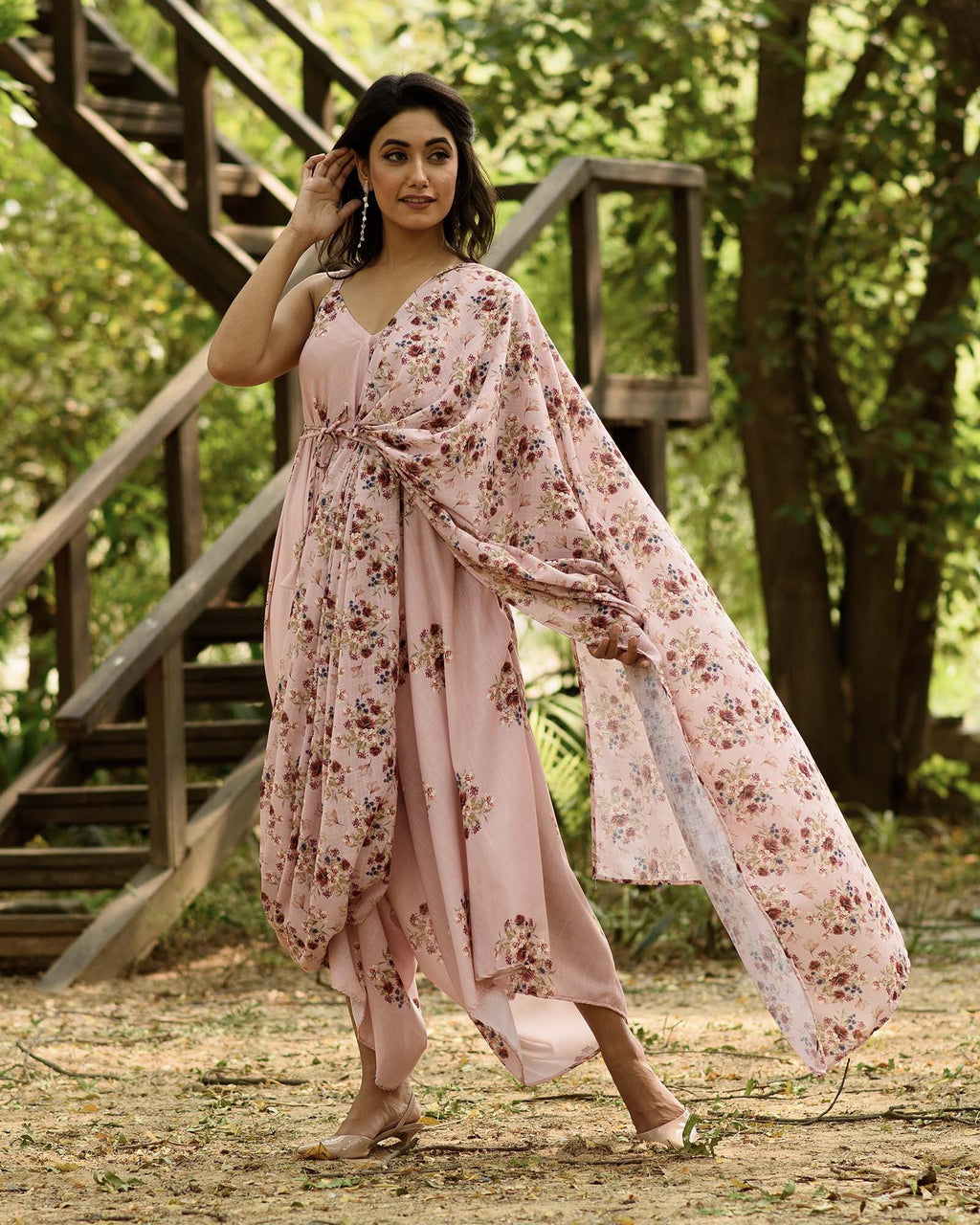 Carnation Pink Palazzo Jumpsuit With A Detachable Carnation Pink Pallu - Riviera Closet