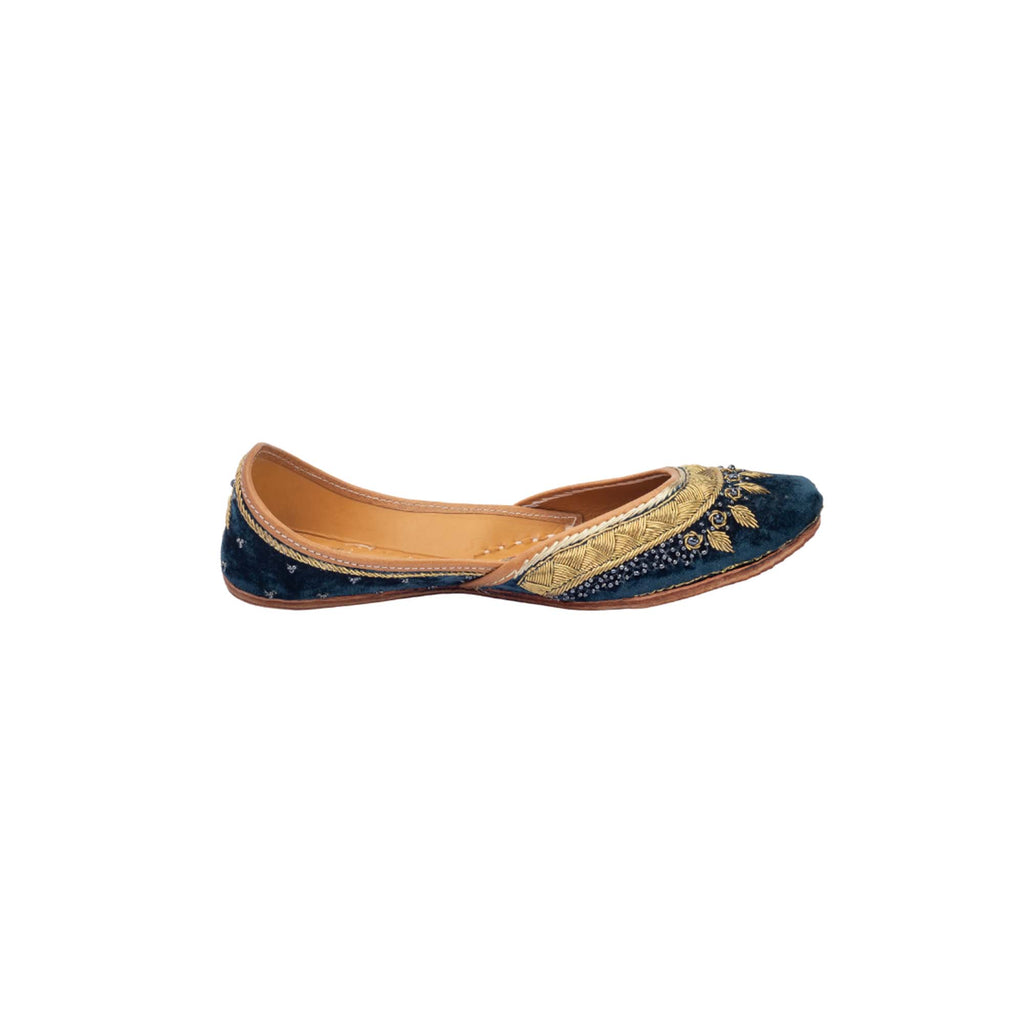 Blue Colour Velvet Hand Embroidered Juttis - Riviera Closet