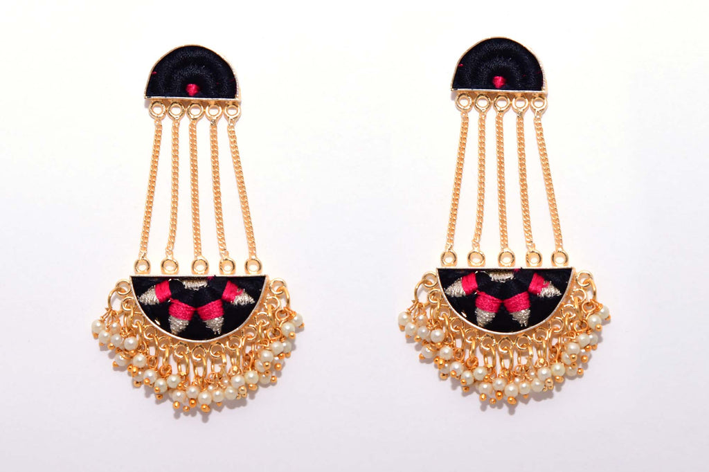 Black And Deep Pink Matte Finished Long Semi-Circular Chain Earrings - Riviera Closet