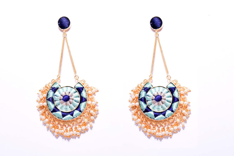 Vanilla And Navy Blue Matte Finished Moon With Chain Earrings - Riviera Closet