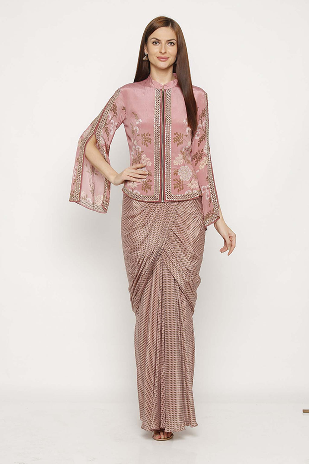 Printed Pink Jacket with Drape Skirt - Riviera Closet