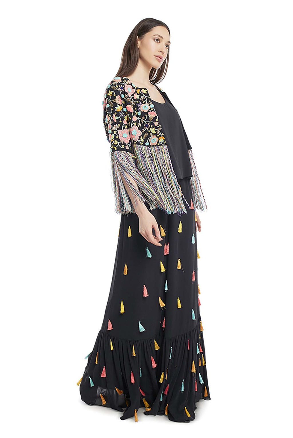 Black Colour Georgette Choli with Jacket and Frill Palazzo - Riviera Closet