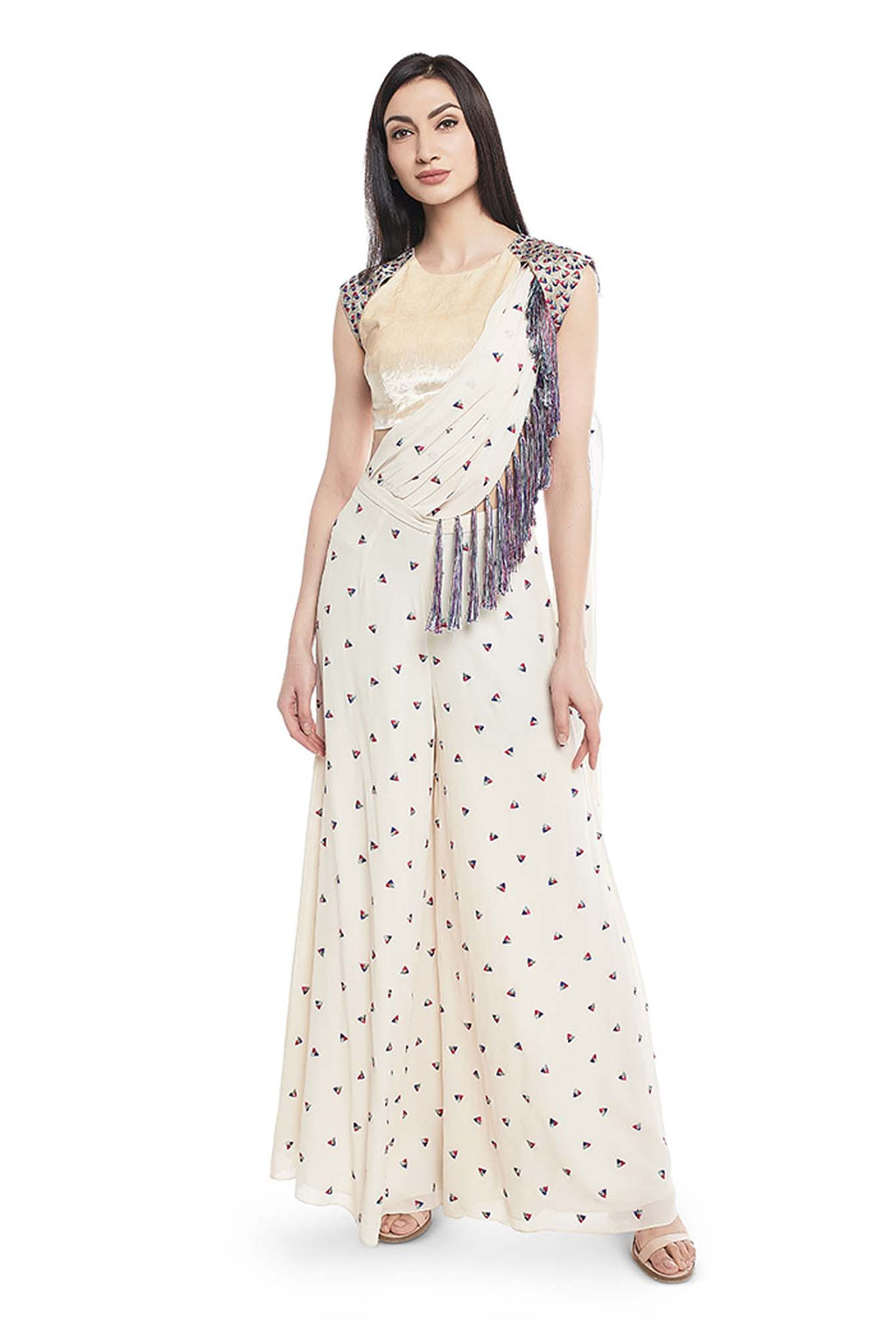 Chalk White Colour Velvet Choli and Georgette Palazzo with Attached Drape Dupatta - Riviera Closet
